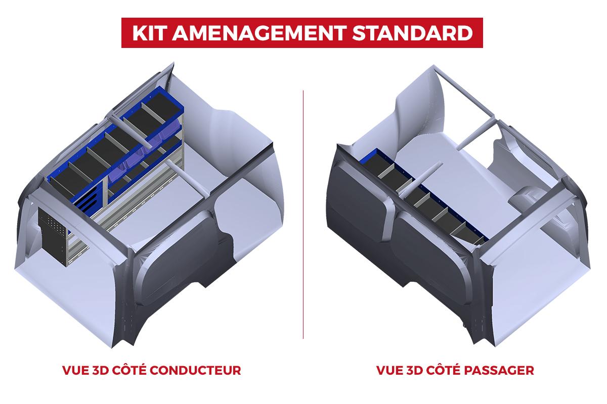 Image Vues 3D du Fourgon Kangoo L2H1 avec aménagement version standard