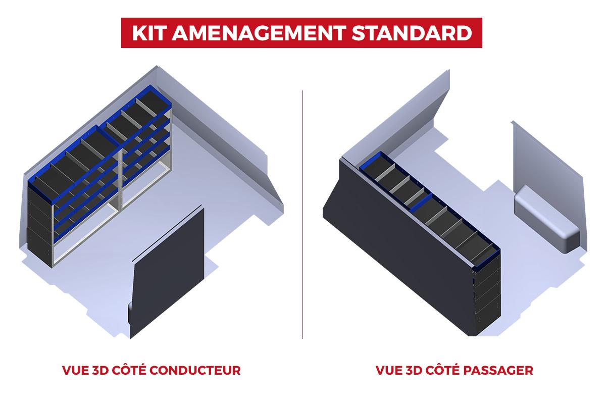 Image Vues 3D du Fourgon Trafic L1H1 avec aménagement standard