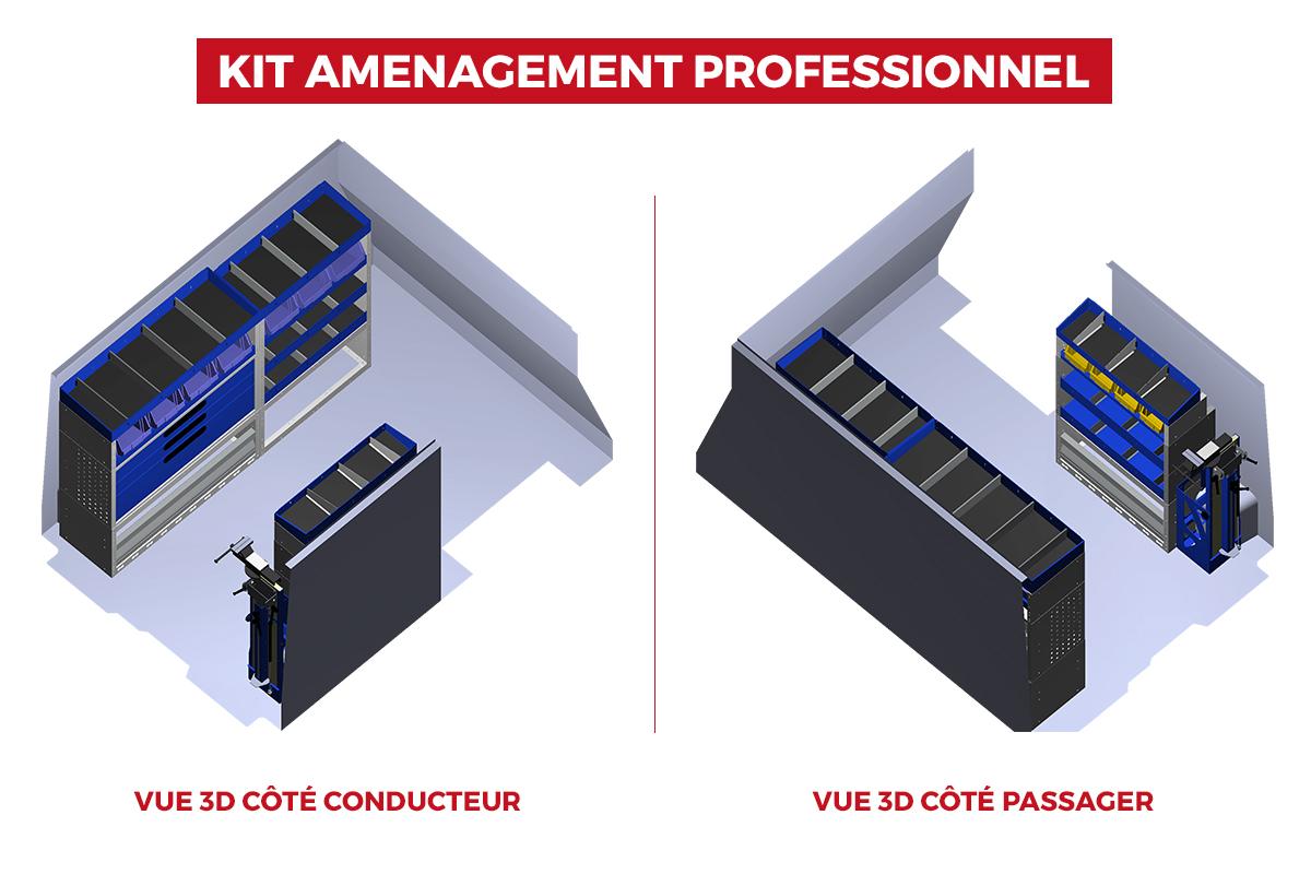 Image Vues 3D du Fourgon Trafic L1H1 avec aménagement version professionnel